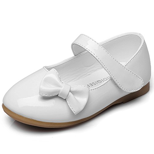 Maxu Spring Autumn PU Girls Dressy Mary Jane Flats,White,10M US Toddler
