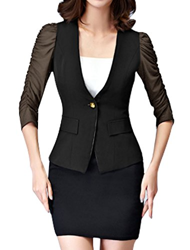uxcell Women Ruched Sleeves Mesh Panel Slim Fit Blazer Black (Mesh Blazer)
