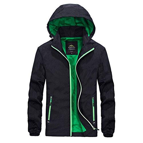Modern Fantasy Mens Packable Hooded Zip up Pocket Activewear Jacket Size US Black L
