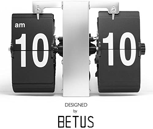 Betus Retro Style Flip Desk Shelf Clock – Classic Mechanical-Digital Display Battery Powered – Home Office Decor 14 x 5.5 x 3.5 Inches