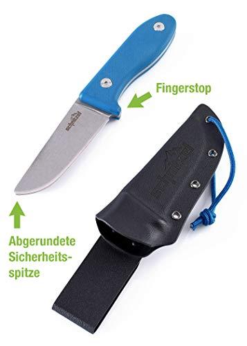 SCHNITZEL Unu - Kindermesser Schnitzmesser und Outdoormesser für Kinder, scharf mit Scheide und Gürtelhalterung, div Farben