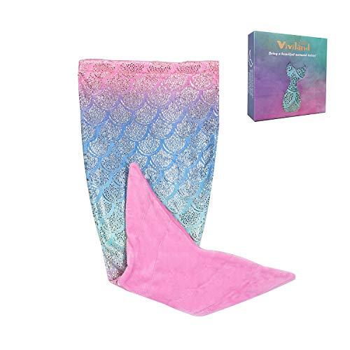 Viviland Kids Mermaid Tail Blanket for Girls Toddlers Teens, All Seasons Super Comfty Flannel Fleece Mermaid Sleeping Bag,Rainbow Glittering Mermaid Blanket,Best Gifts for Girls,17×39