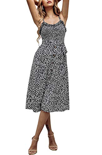 PRETTYGARDEN Women's Summer Sunflower Boho Spaghetti Strap Semi-Backless Button Down A-Line Midi Dress with Belt and Pockets (016-Black, Small)