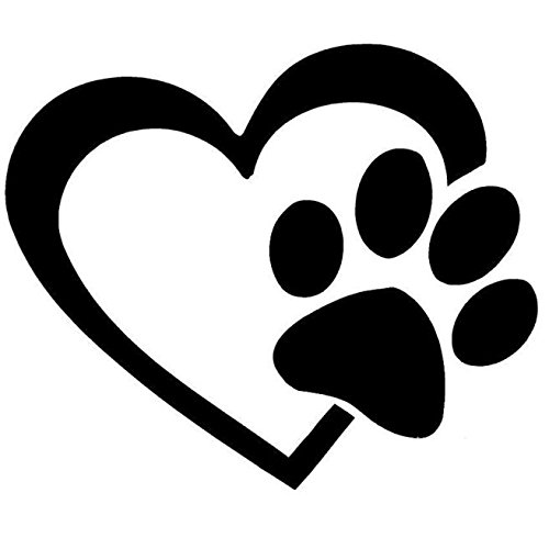 Car Stickers, Heart & Dog Paw Sticker for Vehicles Removable Window Door Stickers Gessppo]()