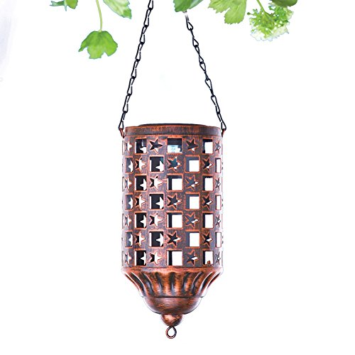 Solar powered Brass Color Hanging Lantern