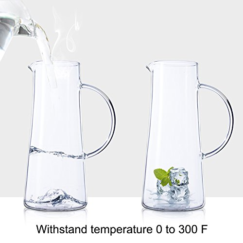 50 Ounces Glass Pitcher with Stainless Steel Lid Water Carafe for Juice and Iced Tea by SMAGREHO (Image #3)