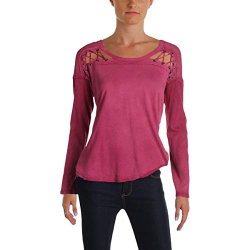 Free People Womens Linen Lace-Up Henley Top Pink S