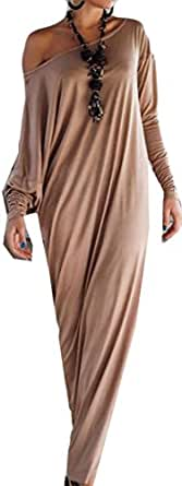 YUNY Women's Casual Long Sleeve One-shoulder Solid Maxi Dresses Brown X-Small