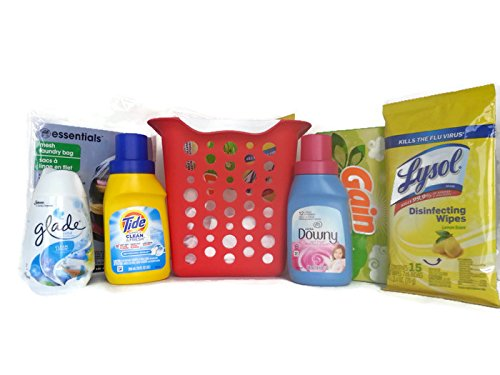 Great Care Package (Away From Home Essentials Care Package ~ Great for College Student & House Warming (Laundry Essentials) Tide Detergent, Downey Fabric Softener, Gain, Lysol, Glade +MORE 7pc Bundle)
