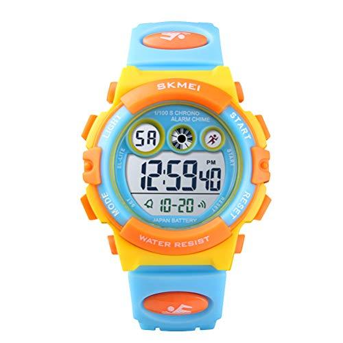 Hemobllo SKMEI Fashion 50 Metros Luminous Waterproof Kids Sports Boys and Girls Reloj Digital LED Reloj Alarma Fecha...