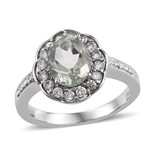 (Shop LC Delivering Joy Stainless Steel Oval Green Amethyst Cubic Zirconia CZ Statement Ring for Women Size 7 Cttw)