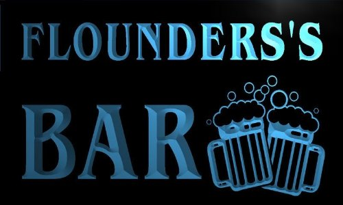 w076009-b FLOUNDERS Name Home Bar Pub Beer Mugs Cheers Neon Light Sign
