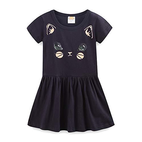 LittleSpring Summer Cat Dresses for Girls Short Sleeve Black Size 5]()