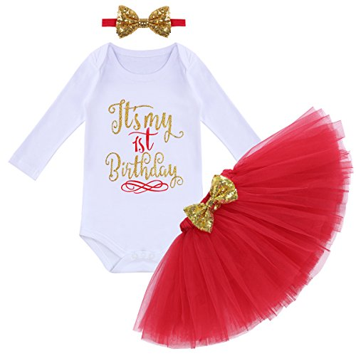 (It's My First 1st Birthday Outfit Baby Girls Long Sleeve Romper + Ruffle Tulle Skirt + Sequin Bowknot Headband Shiny Party Princess Dress up Costume for Cake Smash Photo Fall)