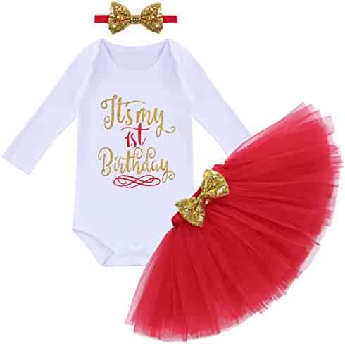 e0aca4729779 Baby Girl First Birthday Clothes 1st Crown Romper+Ruffle Tulle Skirt+Bow  Headband 3PCS