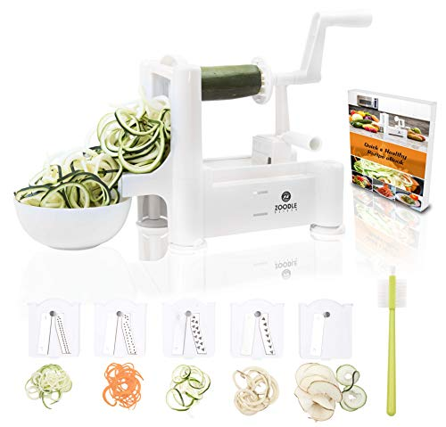 The Original Zoodle Slicer - Complete Vegetable Spiralizer, Spiral Slicer Bundle (With Cleaning Brush, Peeler & eBook) (Desktop) ()