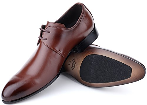 Men's Leather Oxford Dress Shoes Formal Classic Mens Shoes In A Bag - Burnt Sienna