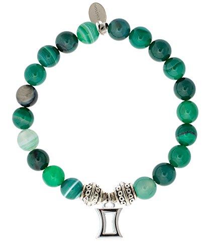Evadane gem Bracelet Size Natural Stretch s 9 gsj Green Stripe Inch1 t Gemstone 9 Tibetan Bead Charm Jade Gemini K1c3uFJTl