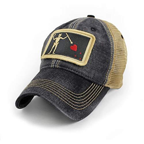 State Legacy Revival Blackbeard Pirate Flag Trucker Hat, Black