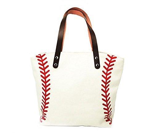 Canvas Tote Sport (H&N Large Baseball Tote Bag Sports Printing Utility Top Handle Casual Shoulder Bag White)