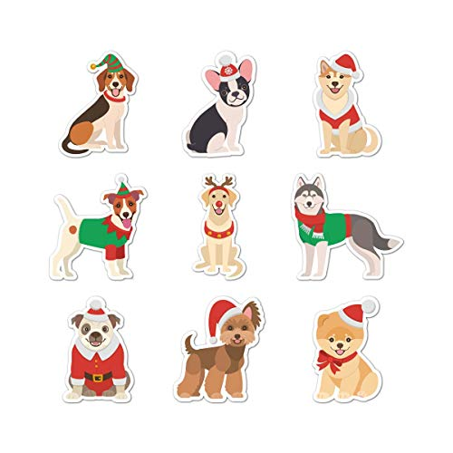 Happy Holiday Dogs Vinyl Decal - Set of 9 - Indoor and Outdoor Use!