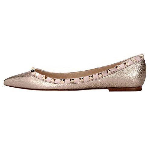 Vocosi Scarpe A Punta Per Donna, Borchie Moda Borchie Comfort Ballerine Scarpe Oro (modello)