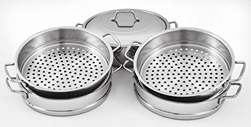 - Dumpling Steamer Stainless Steel 6pc Oriental Uzbek Mantovarka мантоварка манты (28cm)