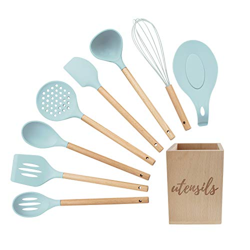 nsils Set, Turquoise Kitchen Utensils - Includes Wood Utensil Caddy, Basting Spoon, Slotted Spoon, Silicone Ladle, Silicone Whisk, Turner, Silicone Spatula, Skimmer, Spoon Rest ()