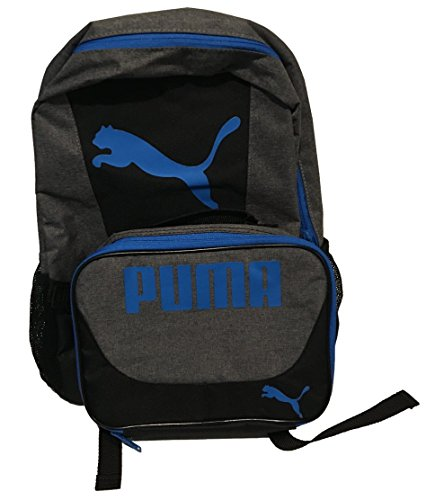 PUMA Boys' Little Backpacks and Lunch Boxes, Gray/Blue Kit, Youth