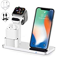 SENZLE 3 in 1 Aluminum Wireless Charging Desk Stand with Dock Station for iWatch/AiPods/iPhone x/8/8+/Pencil/iPad,iWatch Charging Stand Holder (Sliver)