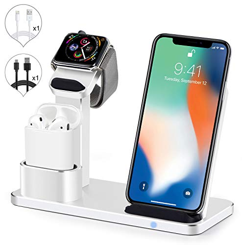 SENZLE Wireless Charger Watch Stand,3 in1 Aluminum Wireless Charger Charging Stand Dock Station for iWatch Series 4/3/2/1/ AirPods/iPhone x/xr/xs/xs max/8/8 Plus,iWatch Charging Stand-(Silver) ()