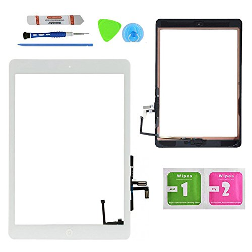 Monkey White Digitizer Touch Screen Outer Glass Panel for iPad Air 5th Gen Generation Bundle with Home Button Flex Cable Assembly, Tools and Adhesive Tape