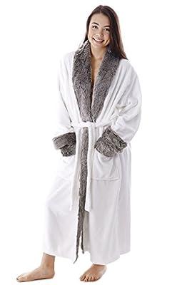 Burklett Luxury Faux Fur Trim Velvet Fleece Long Bath Robe with Pocket