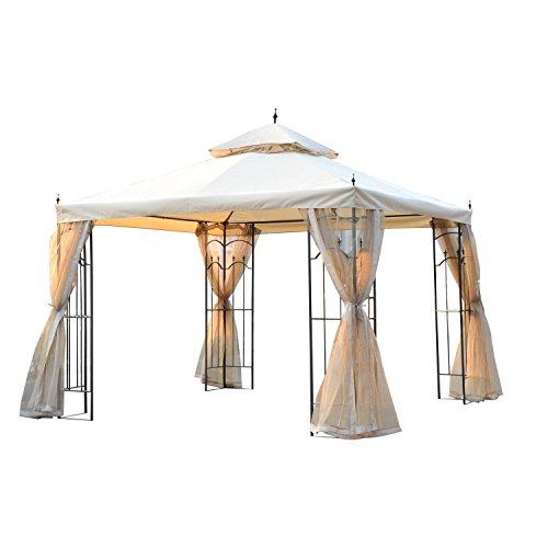 Outsunny 10' x 10' Steel Outdoor Garden Gazebo with Mesh Curtains - -