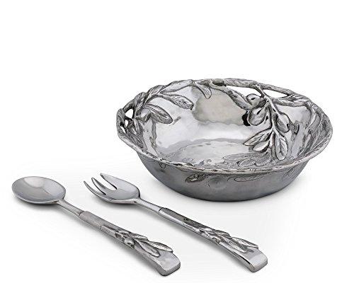 Arthur Court Sand-Cast Aluminum Salad Set; Olive Pattern, 3 pieces, 12'' Diameter Bowl plus 2 servers by Arthur Court