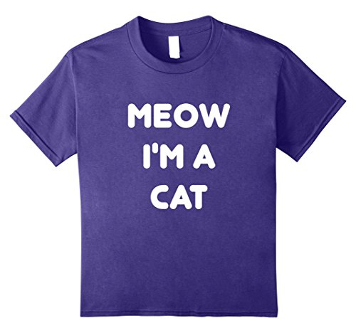 Kids Meow Cat Halloween Costume T-Shirt 10 Purple - Child Cat Costume Diy