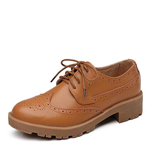 Cuir Chaussures Rétro chaussures A Féminin Angleterre Avec Profondément Shoes Vent Bloch Printemps casual gqx15zqw