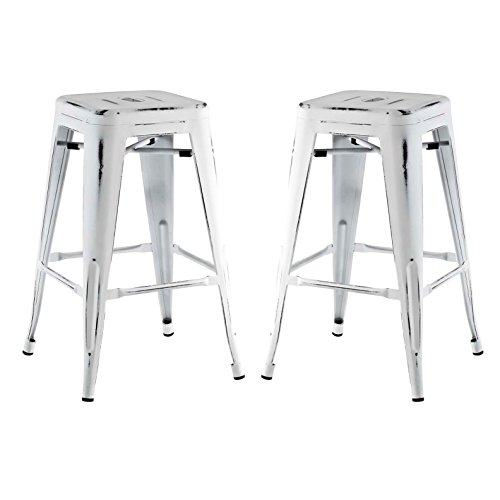 Modern Urban Industrial Distressed Antique Vintage Counter Stool Chair ( Set of 2), White, Metal by America Luxury - Stools