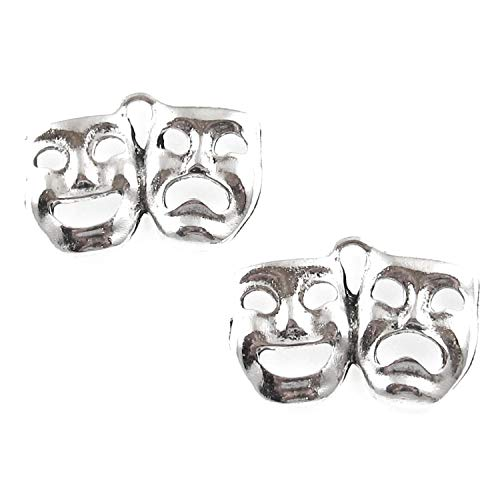 Silver Comedy Tragedy Mask Charms, Metal Theater Drama 15x21mm (20 Pieces)