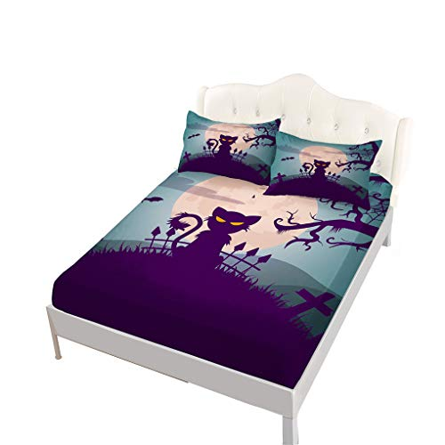 VITALE Bedding Fitted Sheet Queen Size, Halloween Printed Queen Size Sheets Set, Cartoon Black Cat Printed Set of 4 Pieces Queen Fitted Sheet Set Girl's Bedding Decor ()