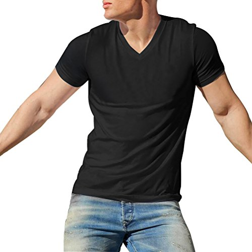 [Mens Retro V-Neck String Tee Gym Workout Fitness String Slim Muscle Short Sleeve T-Shirt] (Striped Envelope Neck Sweater)