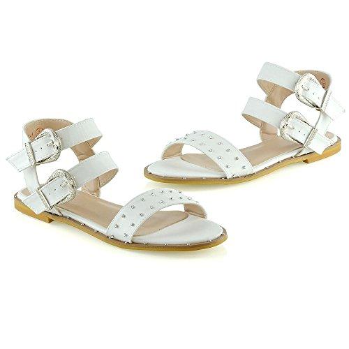 mujer Verano GLAM con tobillo vacaciones Correa de Correa blancos Para ESSEX tachuelas del zapatos Sandalias doble planos Damas qExwd6wzy0