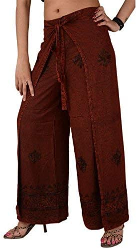 Skirts N Scarves Womens 100/% Cotton Wrap Palazzo Pants Beige Floral Printed OneSize