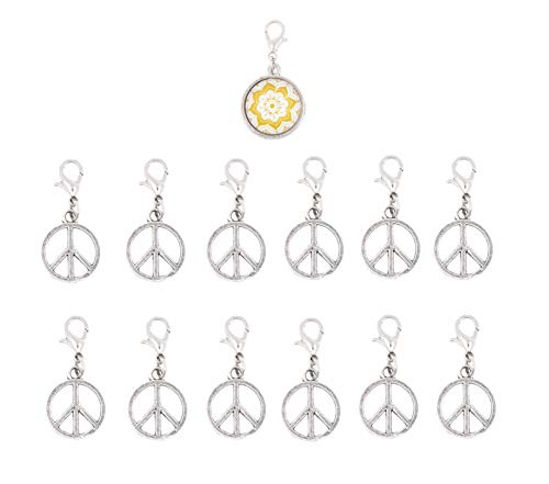 Mandala Crafts Clip On Charms with Lobster Clasp for Bracelet, Necklace, DIY Jewelry Making; Silver Tone, 12 Assorted PCs (Peace Symbol)