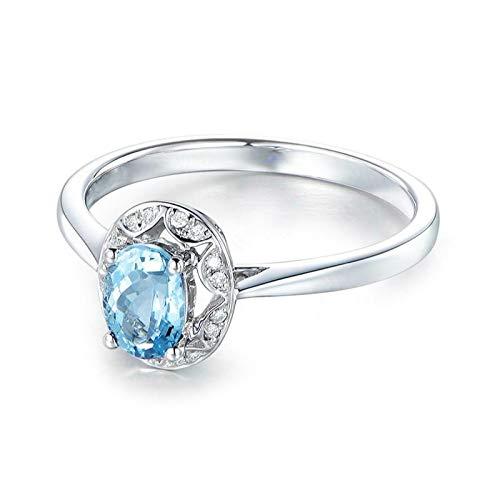 EoCot Custom Size Silver Plated Ring for Women Oval Shape Blue Topaz White Gold Oval Wedding Engagement Ring Size - 4 Gold Topaz Ct Ring White 14k Blue