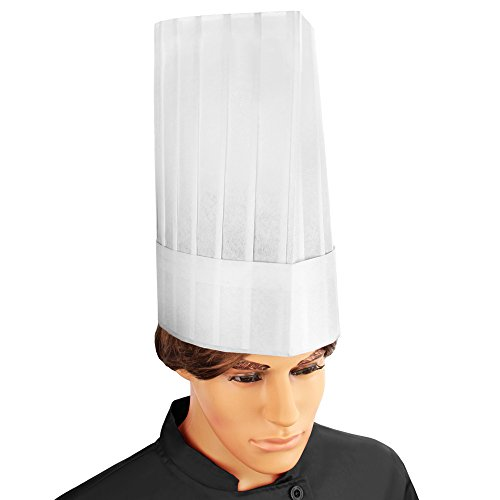 New Star Foodservice 32253 Disposable Non Woven Flat Chef Hat, 12-Inch, White, Set of 10