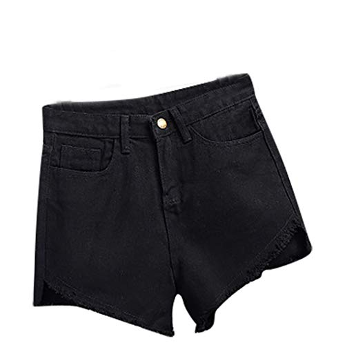 Masun Summer Fashion Women Pocket Tassel Jeans Denim Pants Female High Waist Slim Sexy Slim Fit Shorts Black ()