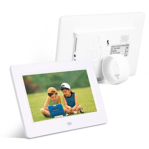 Digital Picture Frame, 7inch Screen 800X480 Digital Photo Frame Clock Music Video Player with Remote Control(White)