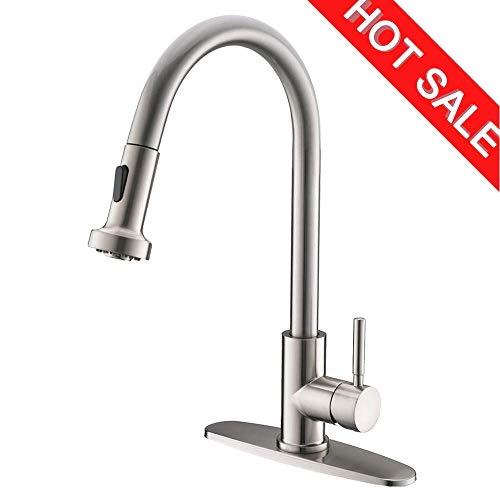 Commercial High Arc Stainless Steel Single Handle Pull Down Sprayer Brushed Nickel Kitchen Sink Faucet,Pull Out Kitchen Faucet with Escutcheon