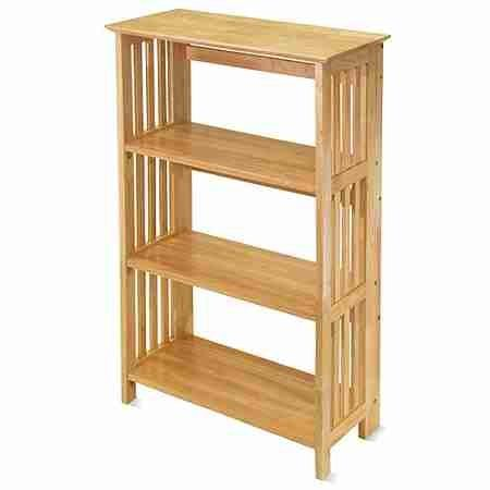 Folding Mission Bookstand 4 Shelves / Shelf, Honey Pine by Generic